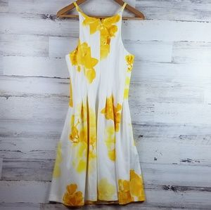 Calvin Klein white and yellow floral scuba dress